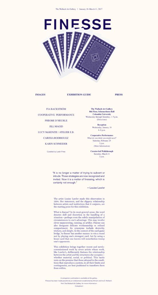 Finesse website blue text on beige background.